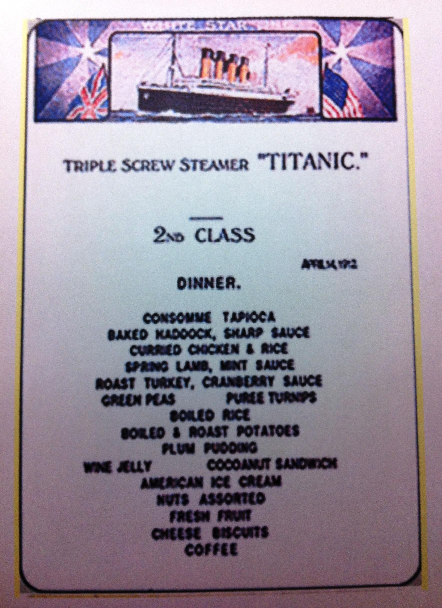 Planning Your Titanic Tribute 2nd Class Menu Downton